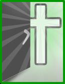 Logo projektu Otevřená Víra (otevřené dveře, za kterými je zářící kříž).